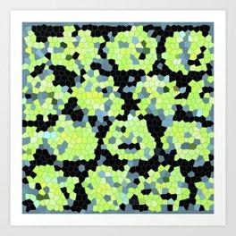 Cell Print Home Decor Graphic Design Pastel Colors Green Grey Blue Black Mint Lime Kiwi Art Print