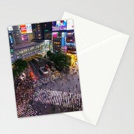 Crowd walking across Shibuya crossing in Tokyo, Japan Stationery Cards