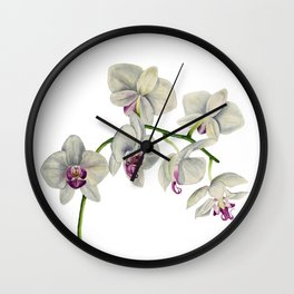 Orchid Watercolor Painting Wall Clock