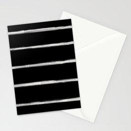 Skinny Strokes Gapped Horizontal Off White on Black Stationery Cards