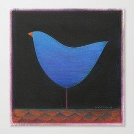 Folk Blue Bird Canvas Print