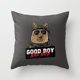 Good Boy Bad Boy Throw Pillow