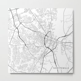 Fayetteville Map, USA - Black and White Metal Print