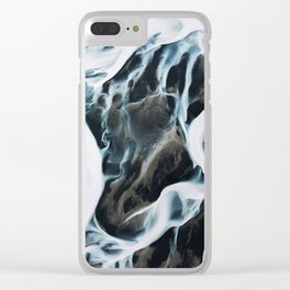 Aerial of an abstract River in Iceland Clear iPhone Case
