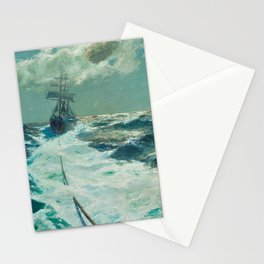 Under Tow on a Moonlit Night nautical landscape ocean painting by Julius Olsson Stationery Cards
