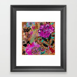 Neon Butterflies Framed Art Print