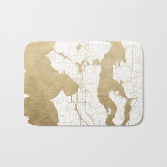 Seattle White and Gold Map Bath Mat