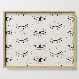 The eyes - vintage drawing illustration pattern Serving Tray