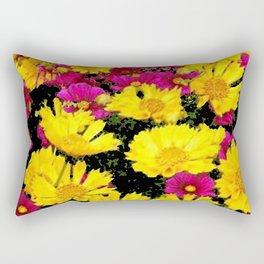 FUCHSIA PINK GARDEN YELLOW COREOPSIS FLOWERS Rectangular Pillow