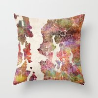 seattle Throw Pillows featuring Seattle by MapMapMaps.Watercolors