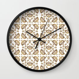 Queen of Hearts gold crown tiara scattered pattern by Kristie Hubler with white background Wall Clock