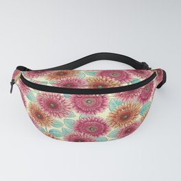 Gerbera Daisies - Pink, Yellow & Teal Floral Fanny Pack