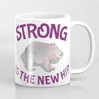 fitness Mugs featuring Hippo Fitness by mailboxdisco