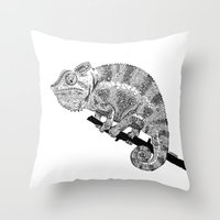 chameleon Throw Pillows featuring Chameleon  by woeyea