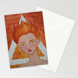 Element Series - Fire Spirit, Orange Red Flame Hair, Cute Creepy Illustration Stationery Cards