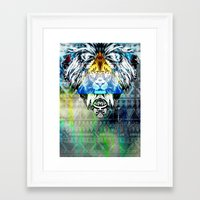 the lion king Framed Art Prints featuring KING LION by sametsevincer