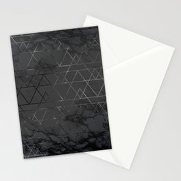 Silver Platinum Geometric Black Mable Triangle Pattern Stationery Cards