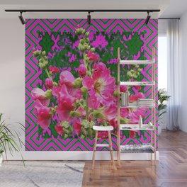 Decorative Fuchsia & Green Hollyhocks Garden Pattern Art Wall Mural