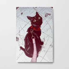 Cat on a Leash Metal Print