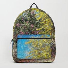 Acacia Tree in Bloom - Aegina Greece Backpack