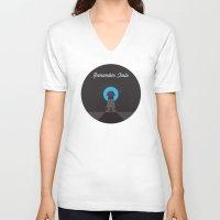 tesla V-neck T-shirts featuring Remember Tesla by Paranormal Splendor