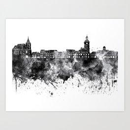 Brasov skyline in black watercolor on white background Art Print