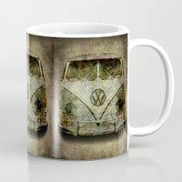 vw bus Mugs featuring VW Micro Bus  by BruceStanfieldArtist illustrator