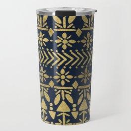 Norwegian Pattern – Gold on Navy Travel Mug