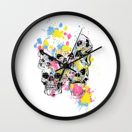 Skeleton Bone - Colored Vintage Skulls Wall Clock