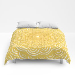 Spiral Mandala (Yellow Golden) Curve Round Rainbow Pattern Unique Minimalistic Vintage Zentangle Comforters