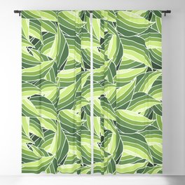 GREENERY LEAVES W  (abstract flowers nature) Blackout Curtain