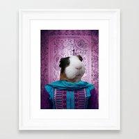 guinea pig Framed Art Prints featuring Bollywood Purple Guinea Pig  by Sarina Saddiq
