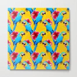 Macaw & flowers pattern Metal Print
