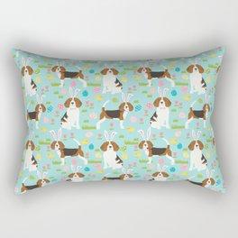 Beagle easter eggs spring dog breeds cute dog pattern beagles pet portraits Rectangular Pillow