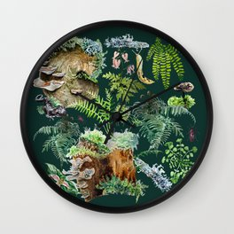 Fungi & Ferns Green Wall Clock