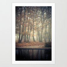 Trees in mist Art Print