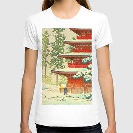 Vintage Japanese Woodblock Print Red Snow Pagoda Garden T-shirt
