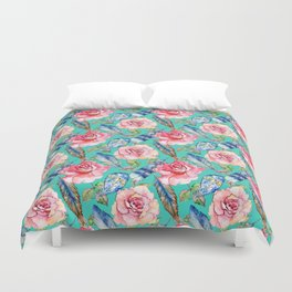 Hand painted blush pink blue turquoise watercolor boho roses floral Duvet Cover