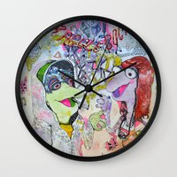cock Wall Clocks featuring fraggle cock by Kira Leigh