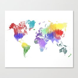 Colorful world map Canvas Print