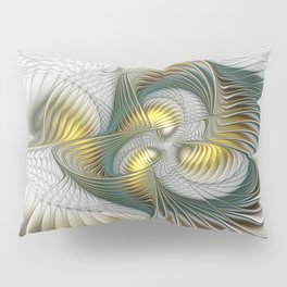 Noble And Golden, Abstract Modern Fractal Art Pillow Sham