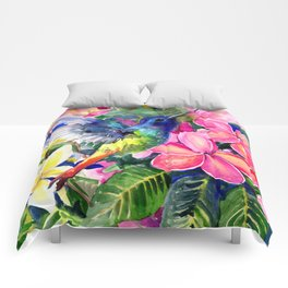 Hummingbird and Plumerias Comforters