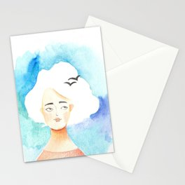 Spring cloud lady Stationery Cards
