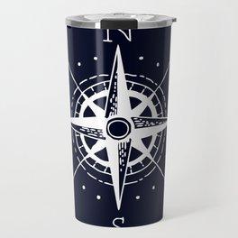 Navy Nautical - White Compass Travel Mug