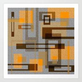 Mid Century Modern Blocks on Gray Art Print