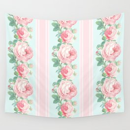 Shabby chic roses pink mint Wall Tapestry