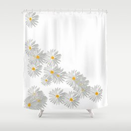 Flower white minimal margarita daisy Shower Curtain