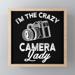 Crazy Camera Lady Funny Gift Framed Mini Art Print