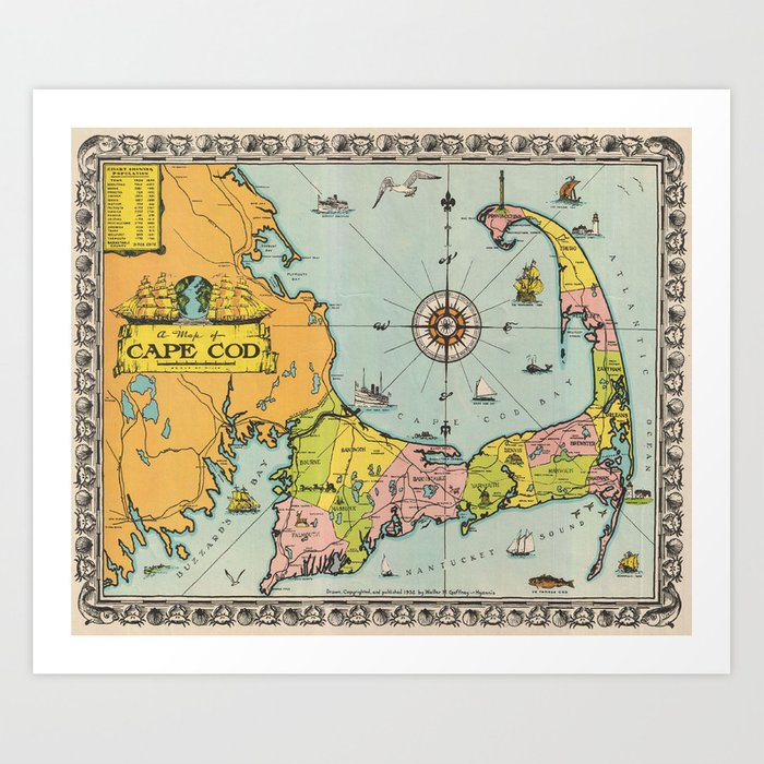 image relating to Printable Map of Cape Cod identified as Typical Map of Cape Cod Artwork Print by way of bravuramedia