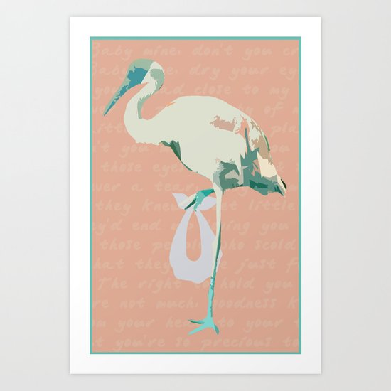 Baby Mine - mint/orange sherbet Art Print